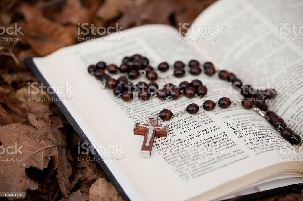 Rosary inside of a book on top of leaves stock photo