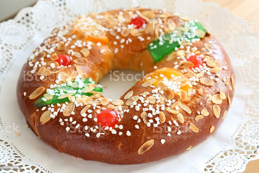 'Roscon de reyes' , Epiphany pastry roll stock photo