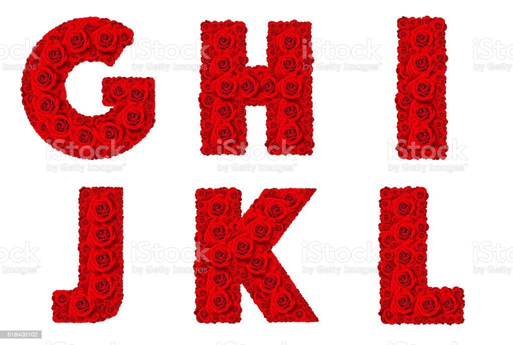 Rose alphabet capital letter G-L stock photo
