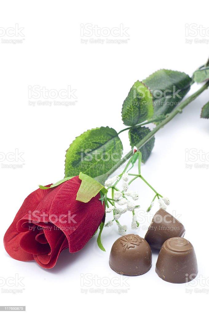 Rose & Chocolate royalty-free stock photo