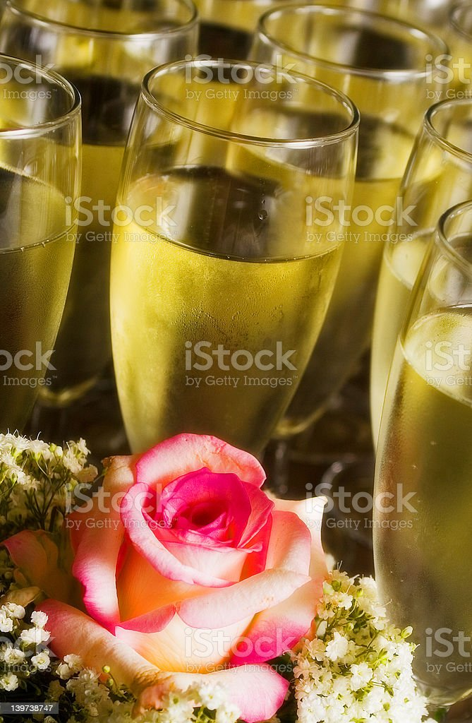 Rose and champagne royalty-free stock photo
