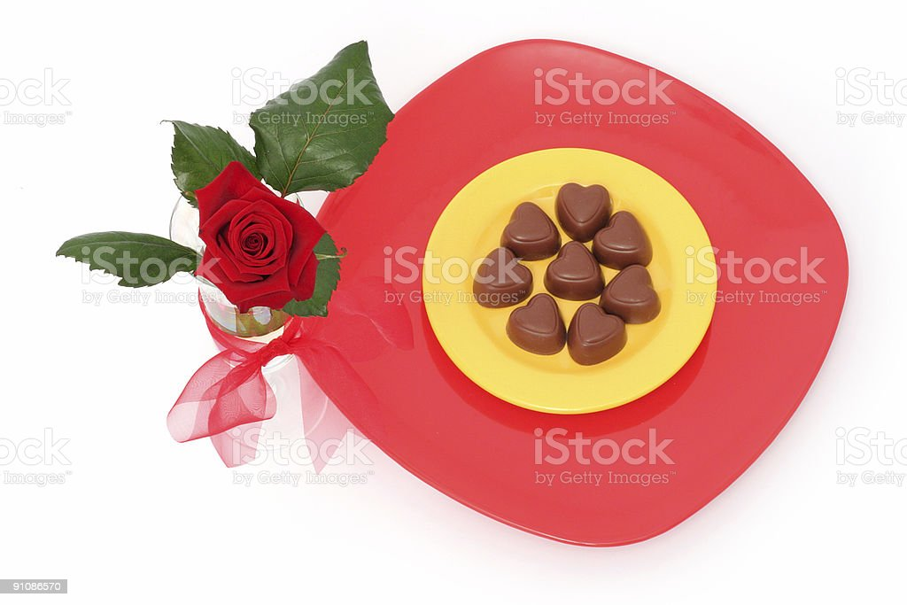 Rose and chocolate royalty-free stock photo