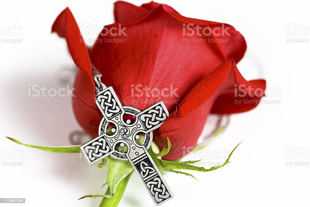 Rose and cross royalty-free stock photo