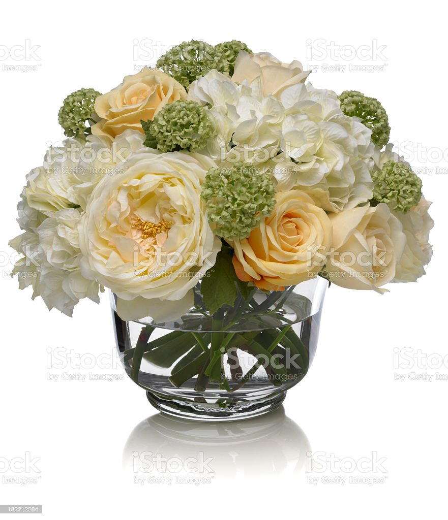Rose and Hydrangea bouquet on white background royalty-free stock photo