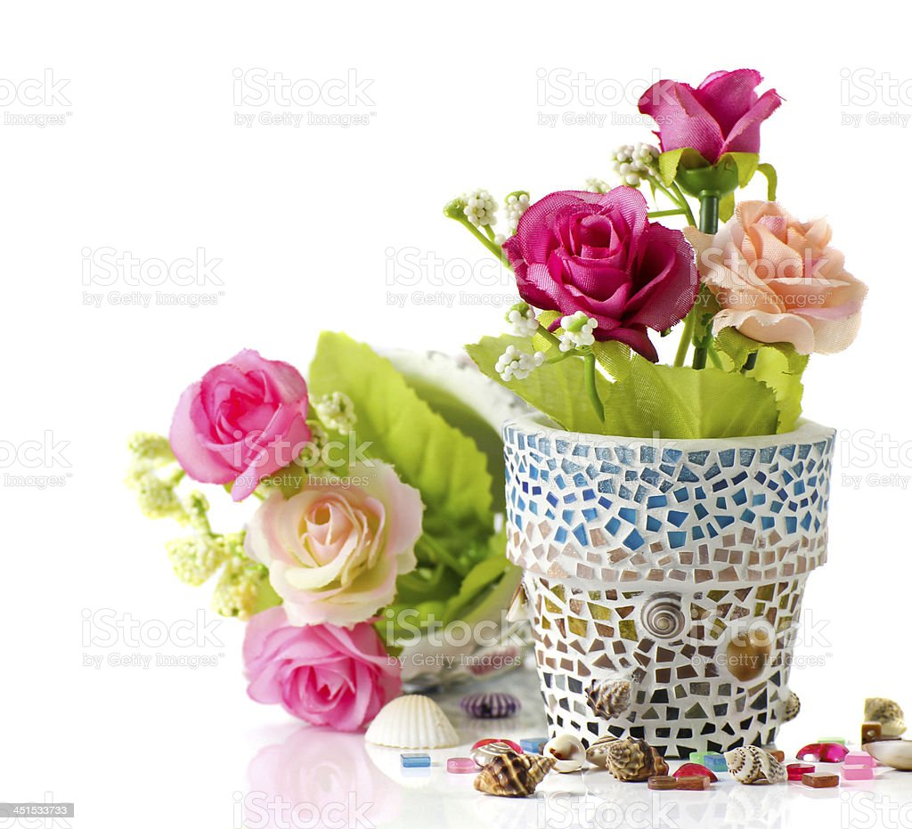 Rose and mosaic flower pot royalty-free stock photo