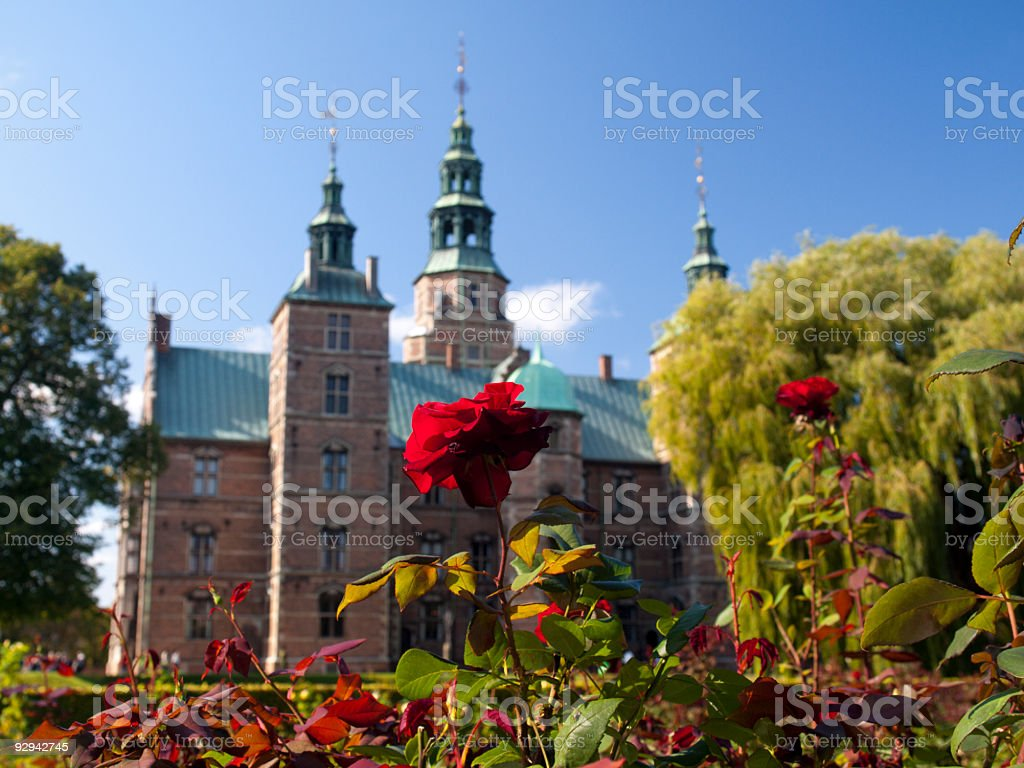 Rose and Rosenborg Castle, Copenhagen stock photo