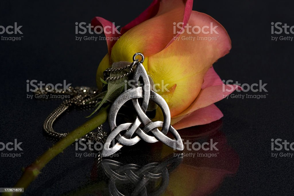 Rose and silver knot royalty-free stock photo