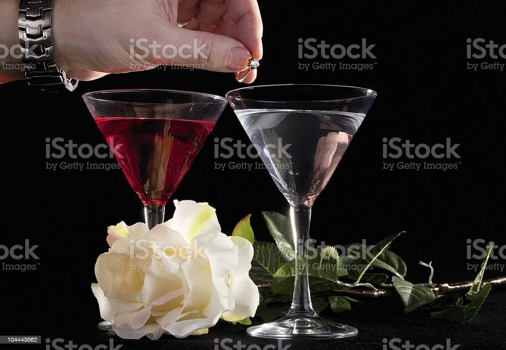 Rose and two glasses of cocktails royalty-free stock photo