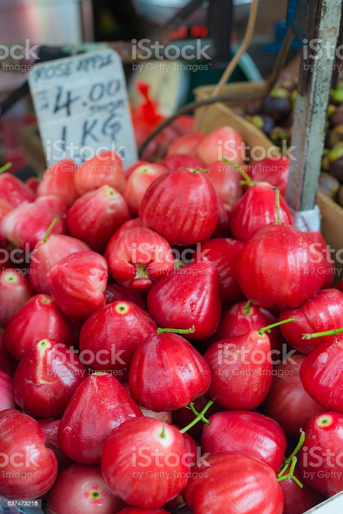 Rose apples tropical fruit on sell in malaysian market stock photo