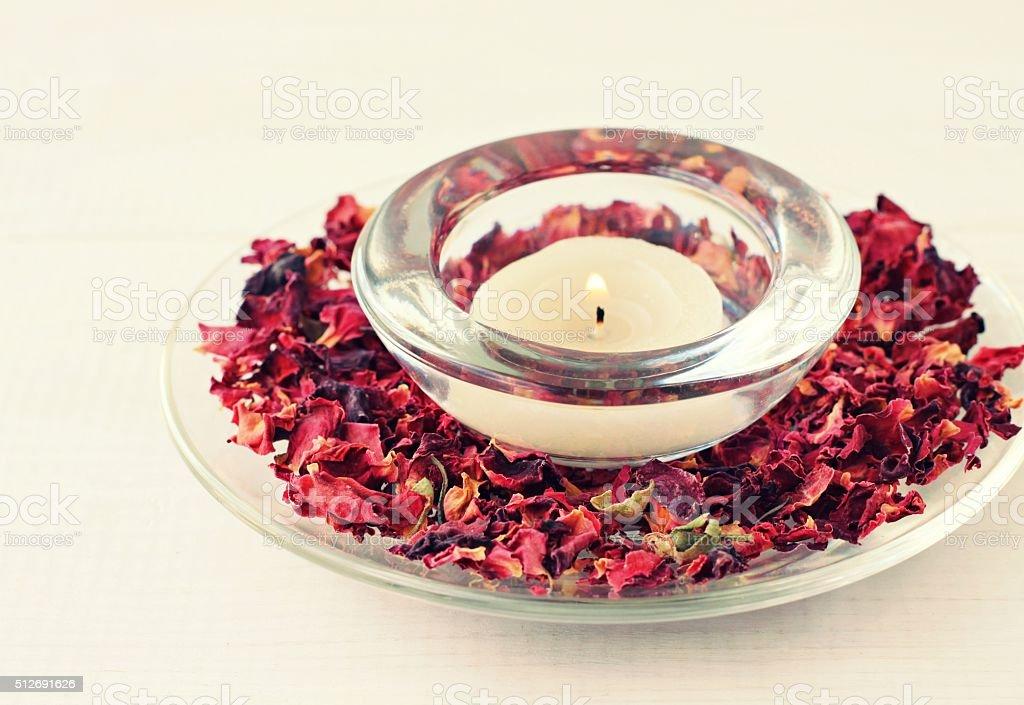 Rose aromatherapy candle stock photo