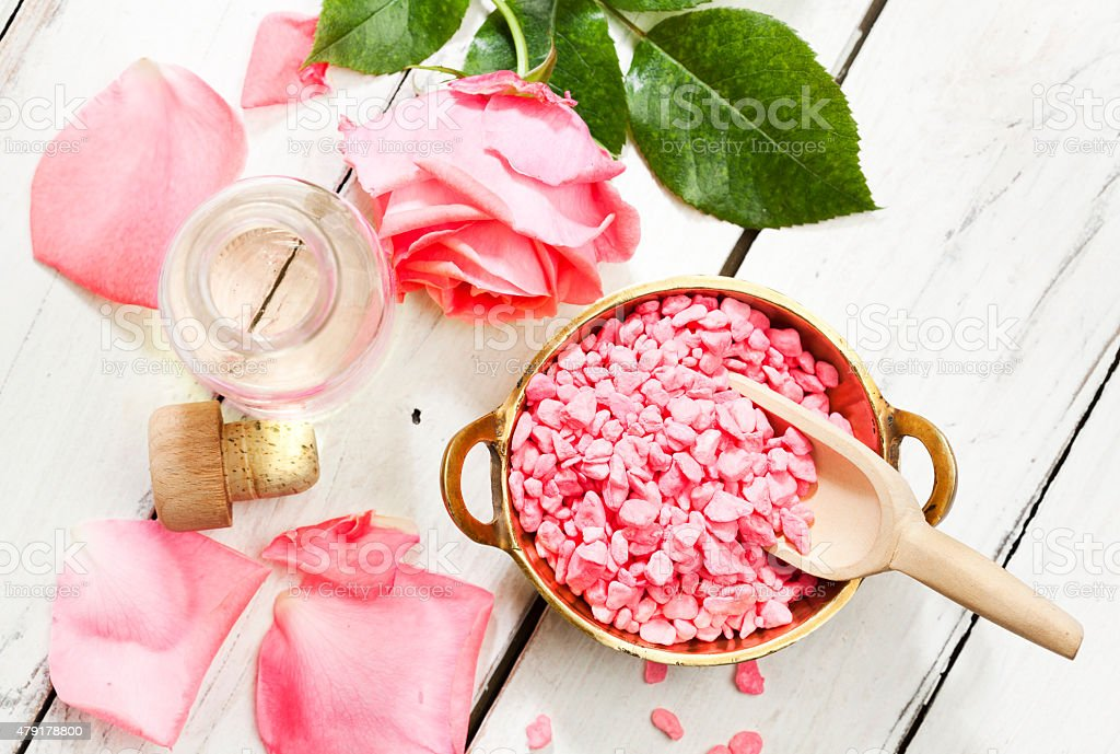 Rose aromatherapy products, top view stock photo