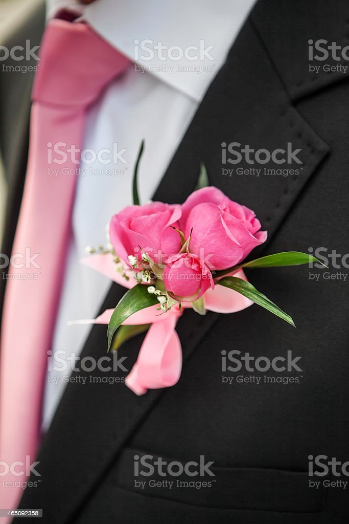 rose boutonniere stock photo