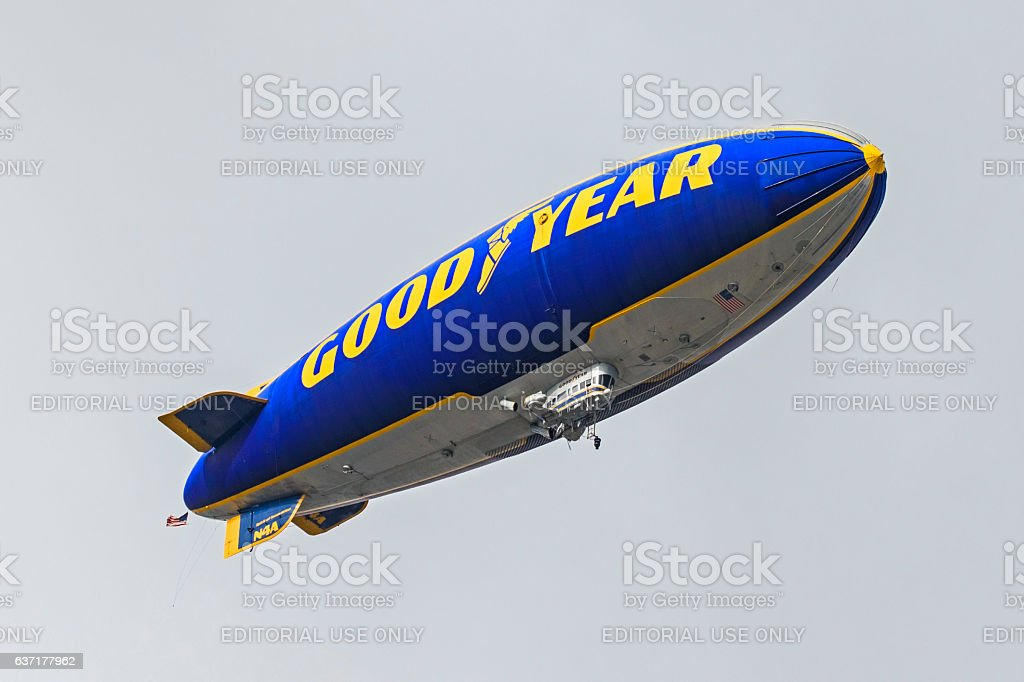 Rose Bowl Good Year Blimp fly-over stock photo