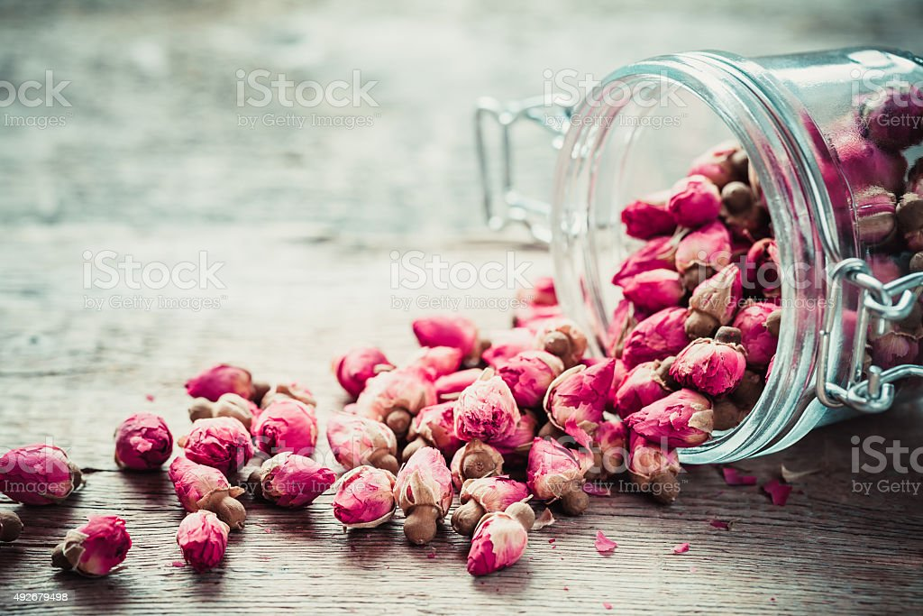 Rose buds in glass jar. stock photo
