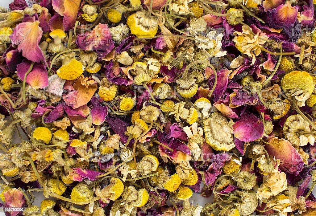 Rose & Camomile Loose Leaf Tea stock photo