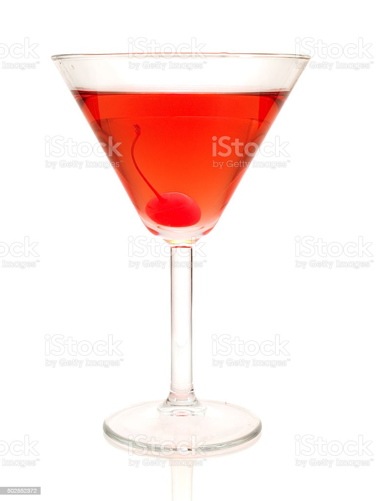 Rose cocktail isolated on white background stock photo