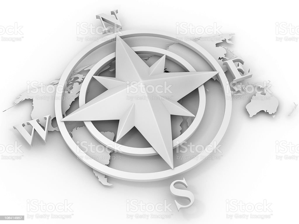 rose compass. 3d royalty-free stock photo