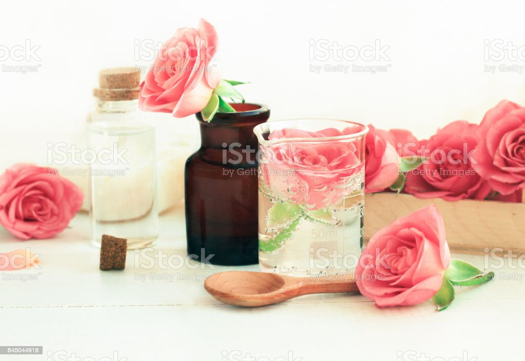 Rose cosmetic ingredients for herbal spa beauty treatment. stock photo