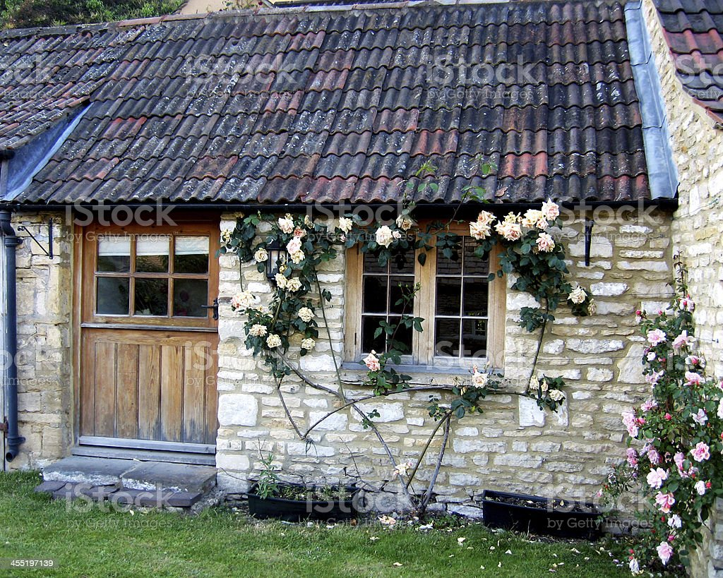 Rose Covered Cottage stock photo
