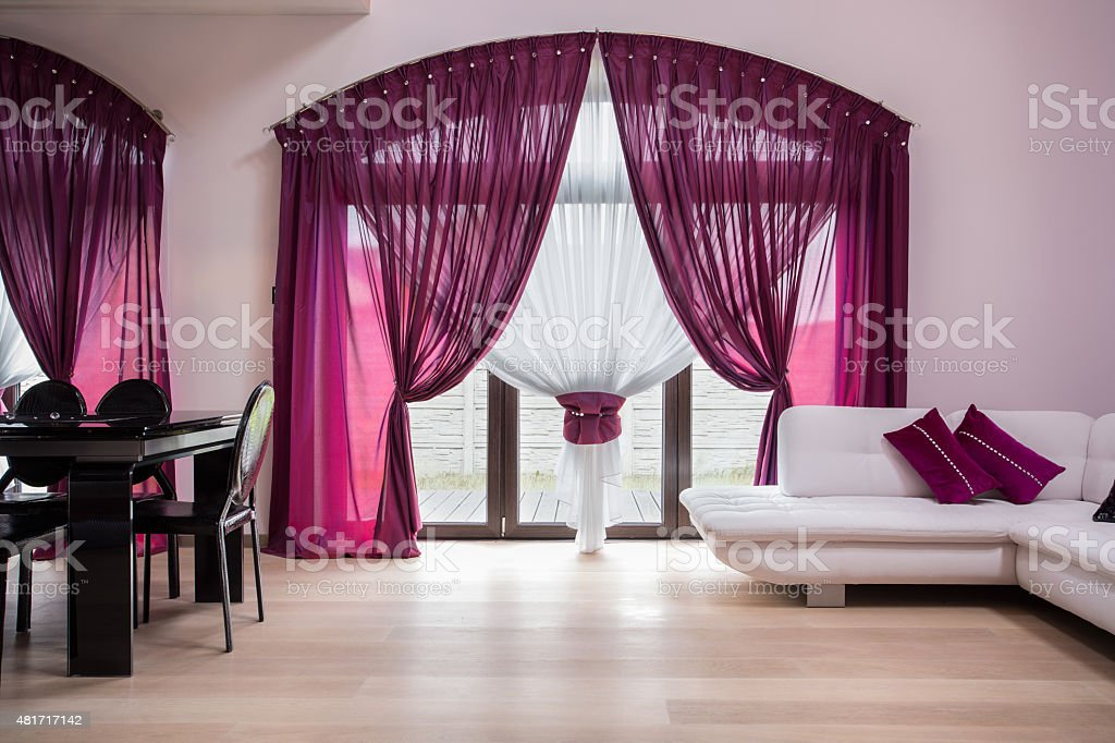 Rose curtains in modern interior stock photo