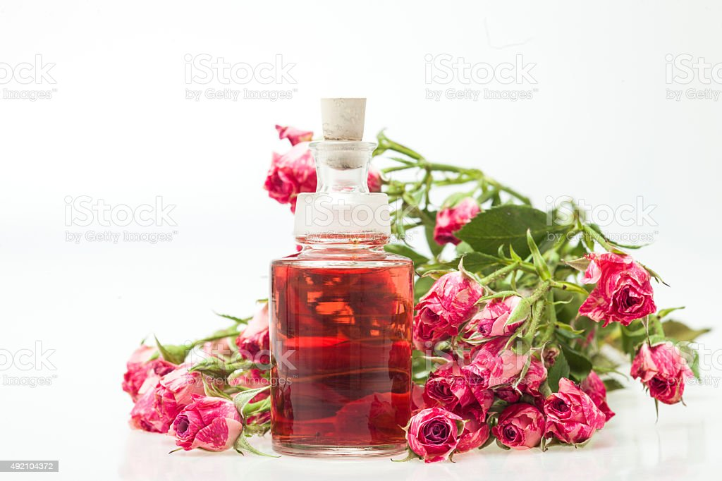 Rose Essential Oil stock photo