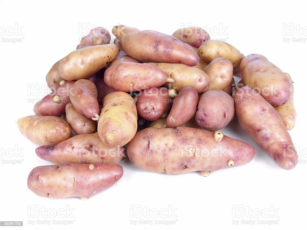 Rose fingerling potatoes stock photo