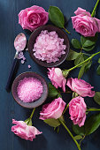 rose flower herbal salt for spa and aromatherapy
