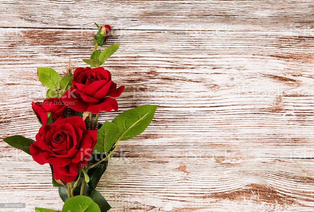 Rose flowers, red on wooden grunge background stock photo