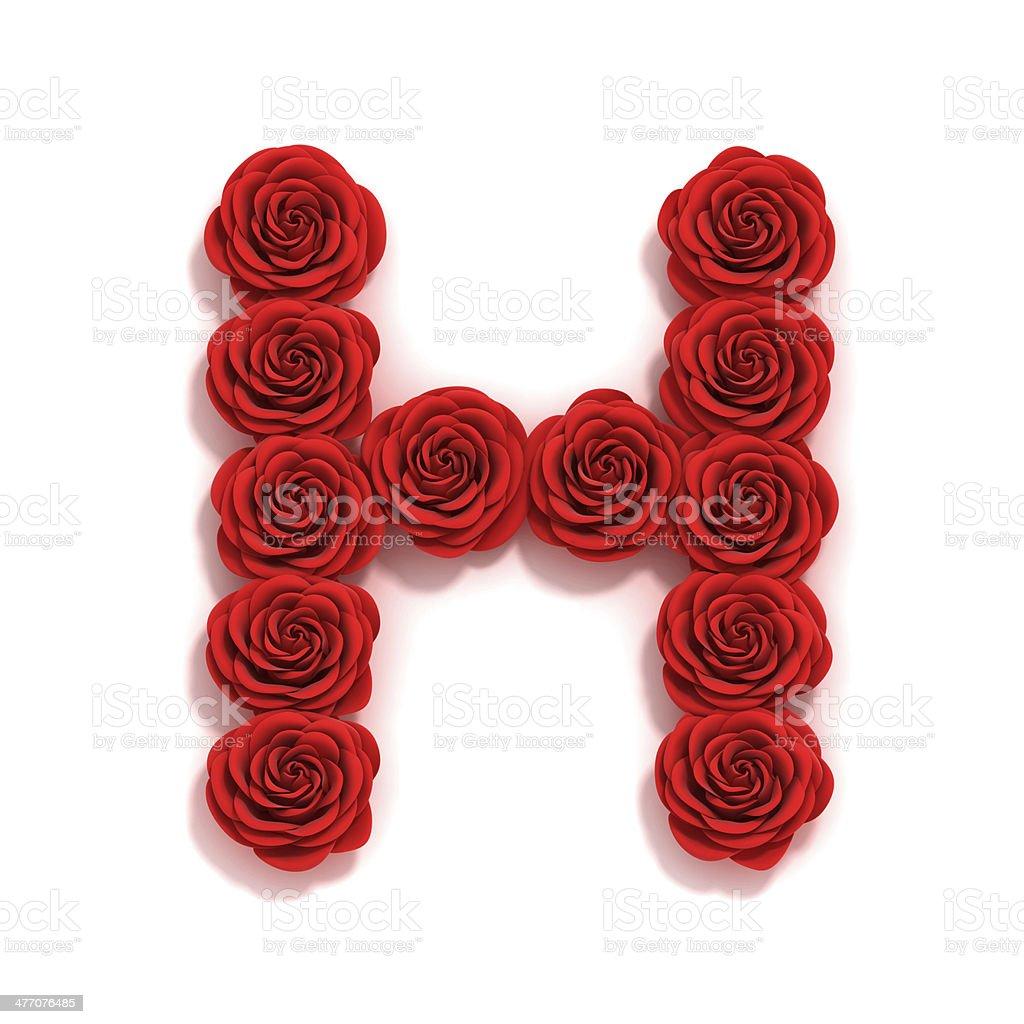 rose font letter H stock photo