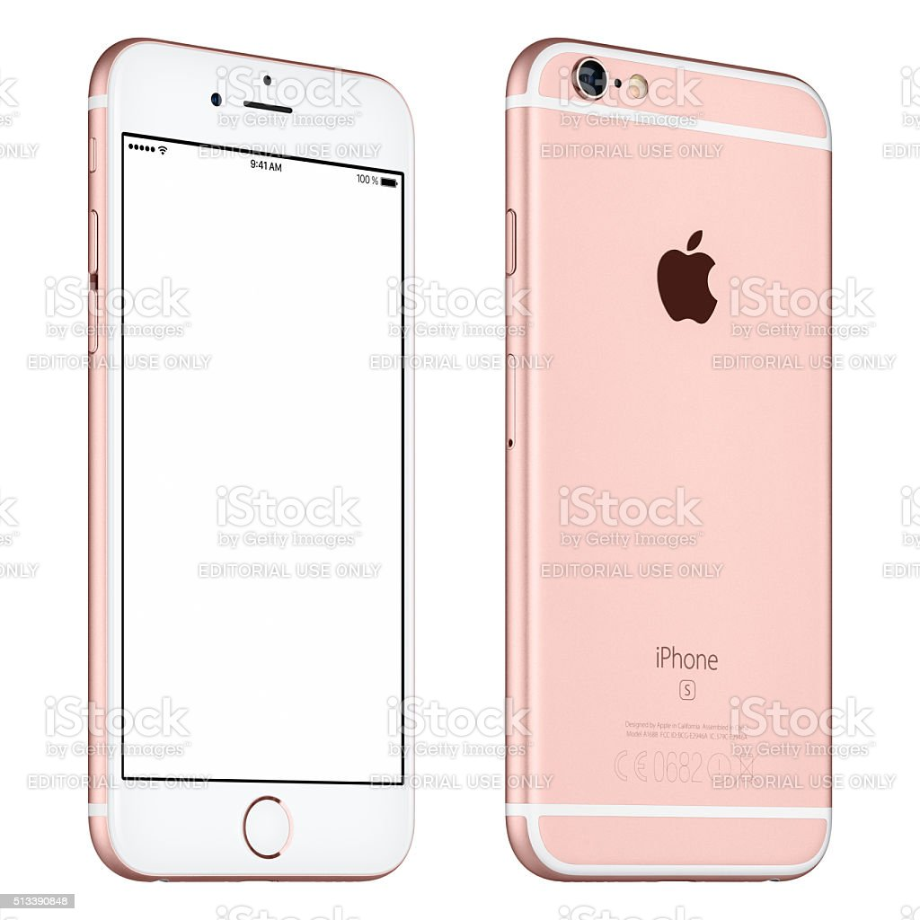 Rose Gold Apple iPhone 6S mockup slightly rotated front view stock photo