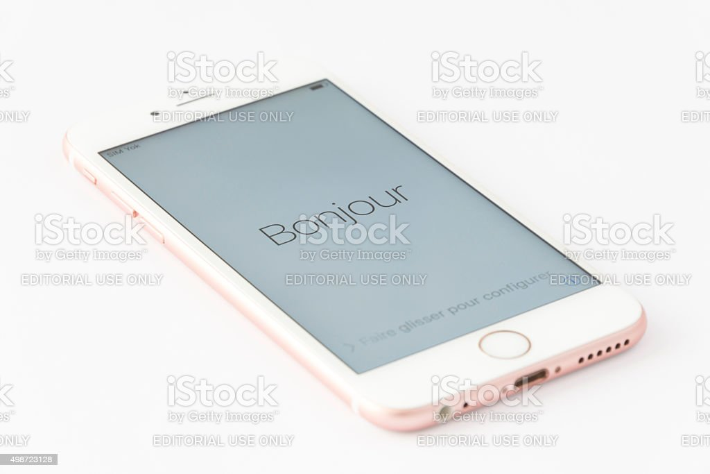 Rose Gold iPhone 6s in French stock photo