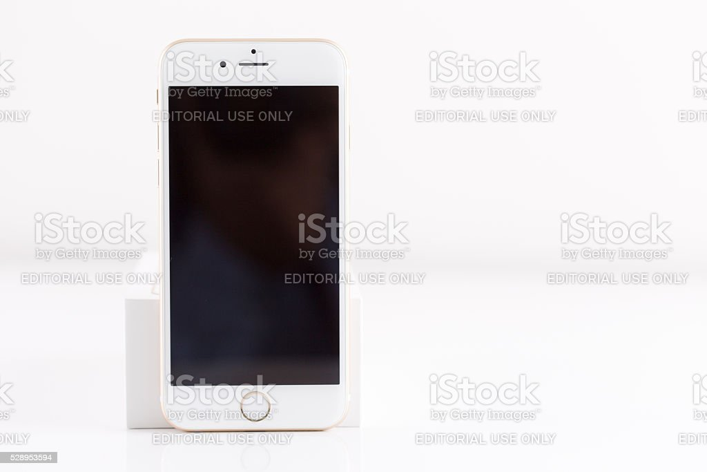Rose Gold iPhone 6S Isolated on White with Blank Screen stock photo
