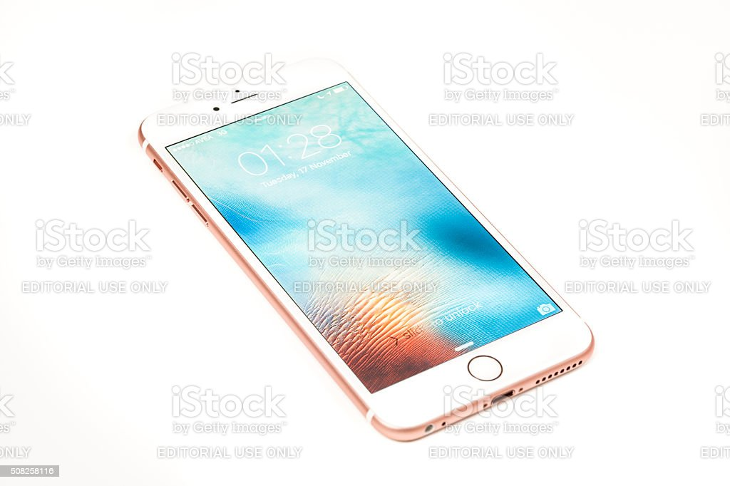 Rose Gold iPhone 6s Plus Isolated on White stock photo