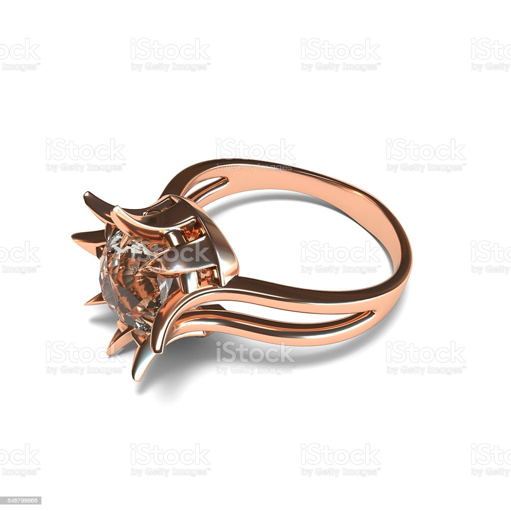 Rose gold ring on white background 3d rendering stock photo