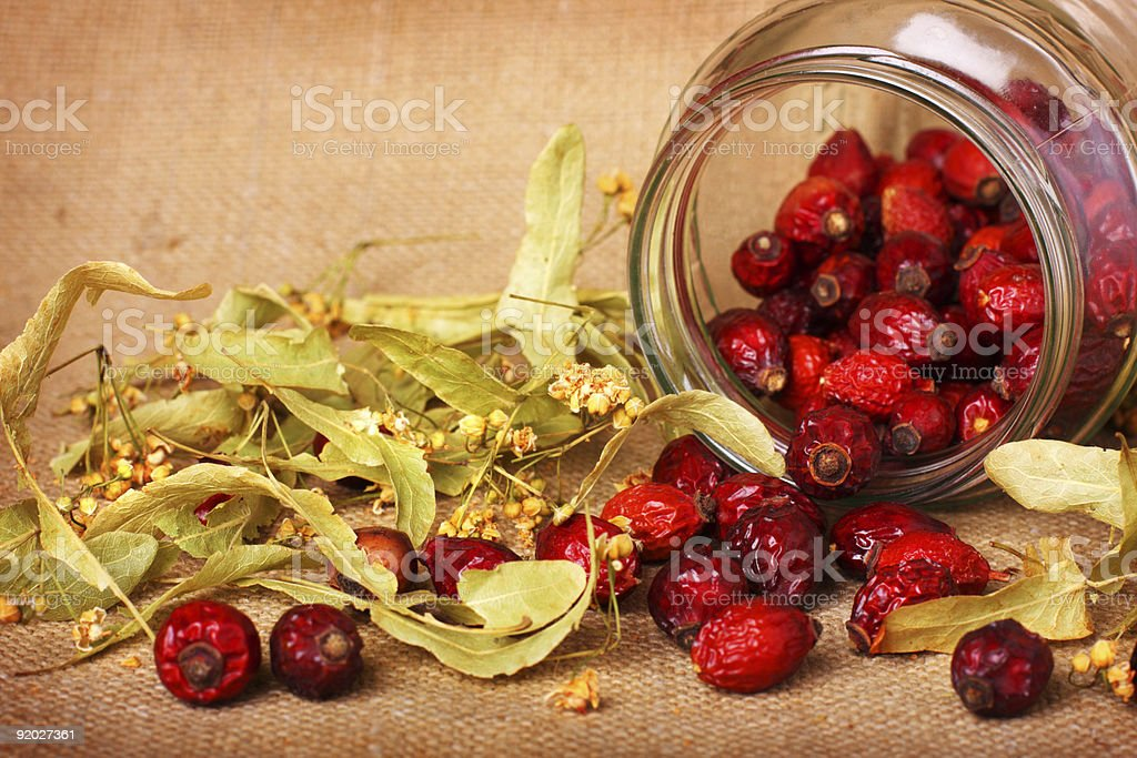 Rose hips and dry linden blossom royalty-free stock photo