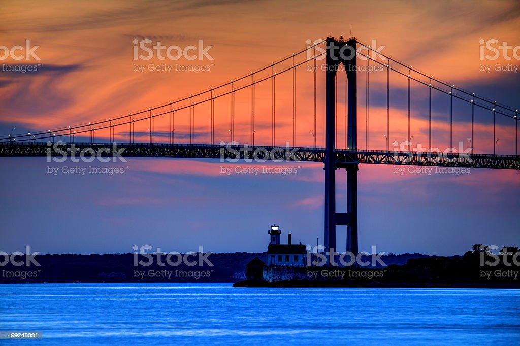 Rose Island Lighthouse stock photo