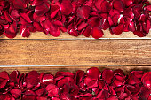Rose leaves on wooden