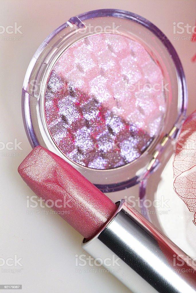 Rose lipstick ad eyshadow royalty-free stock photo