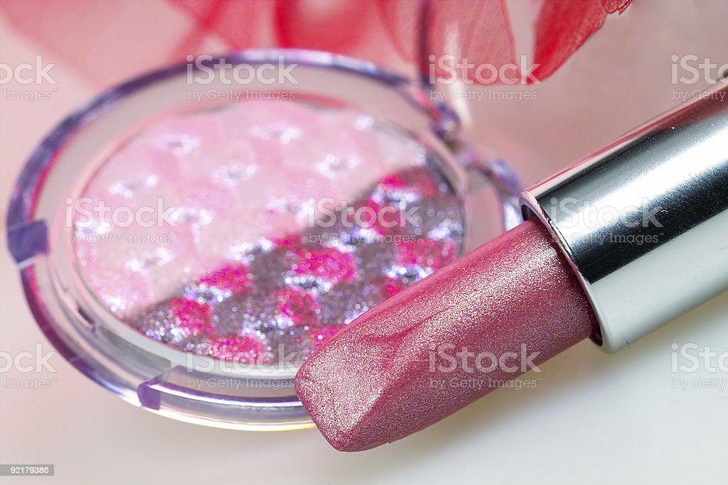 Rose lipstick and eyshadow royalty-free stock photo