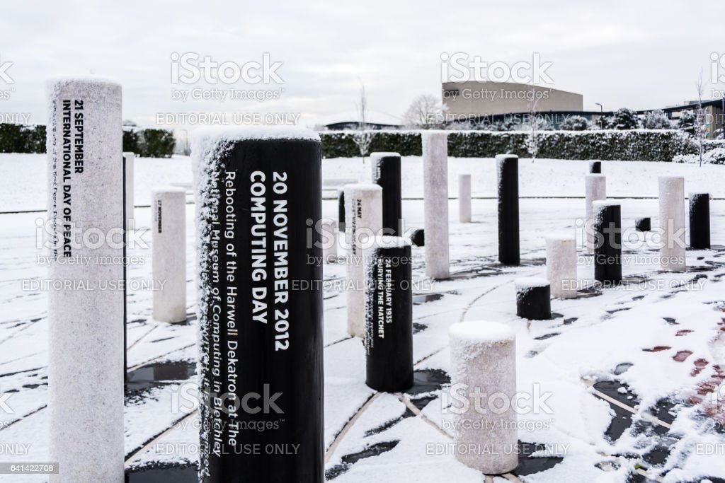 MK Rose memorial day pillars covered by snow - 3 stock photo
