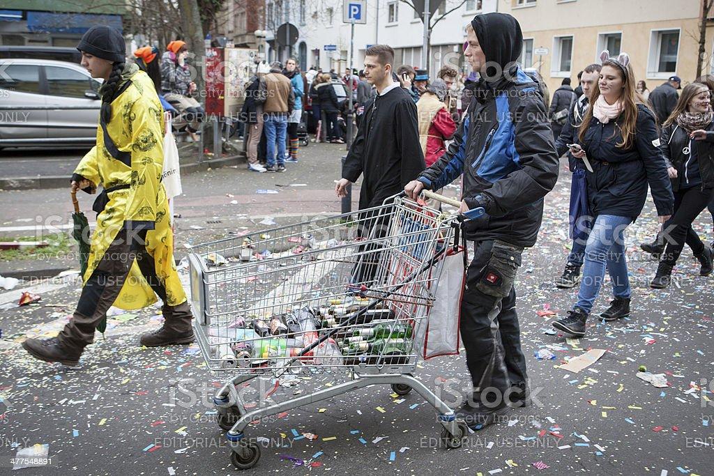 Rose Monday Carnival Parade Mainz 2014 - Pfandflaschensammler stock photo