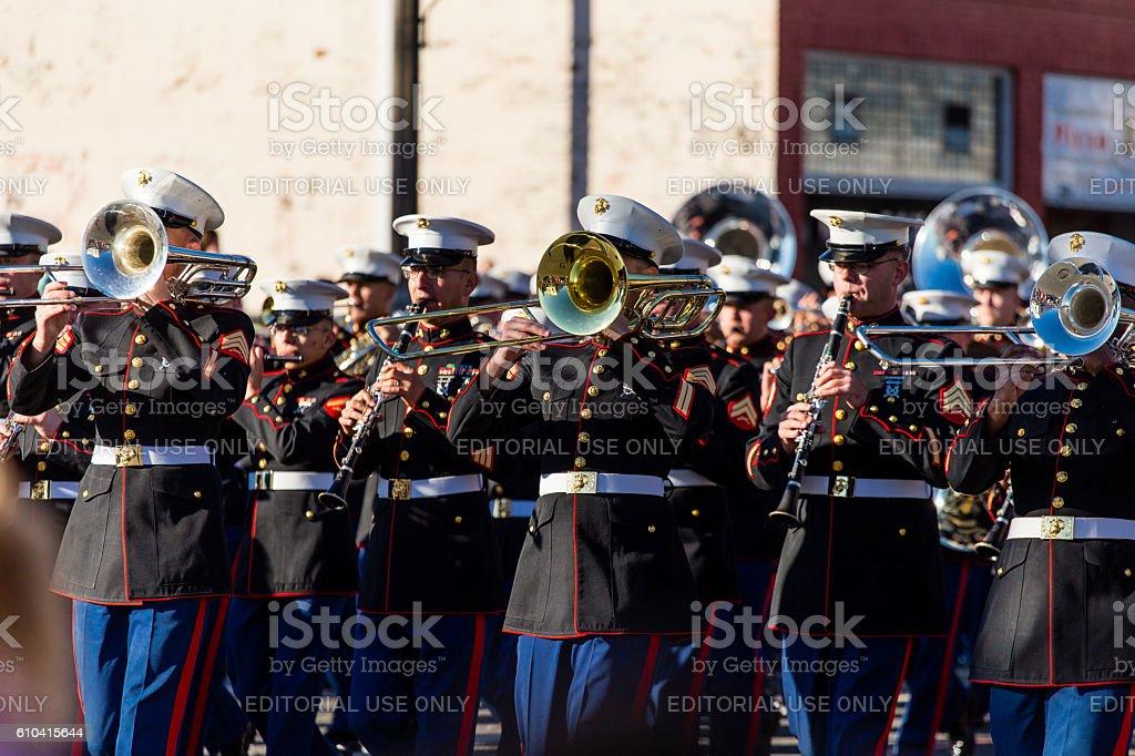 Rose Parade in Pasadena CA marching band performing stock photo