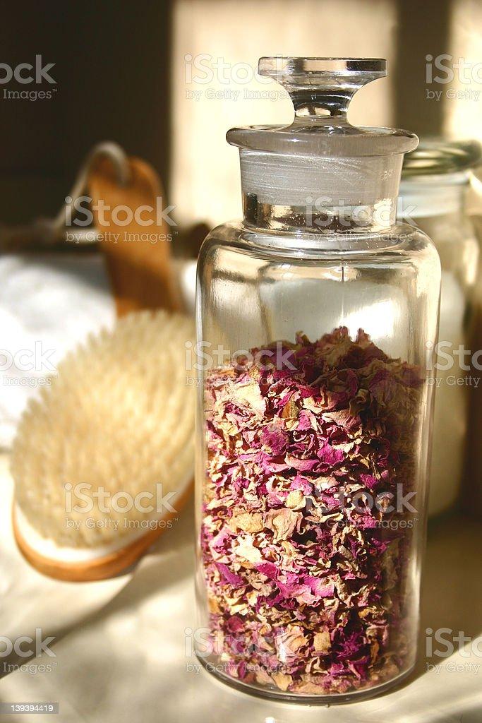 Rose Petal Jar royalty-free stock photo