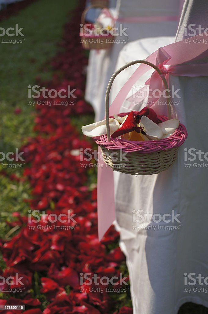 Rose petals Basket decorated on chair royalty-free stock photo