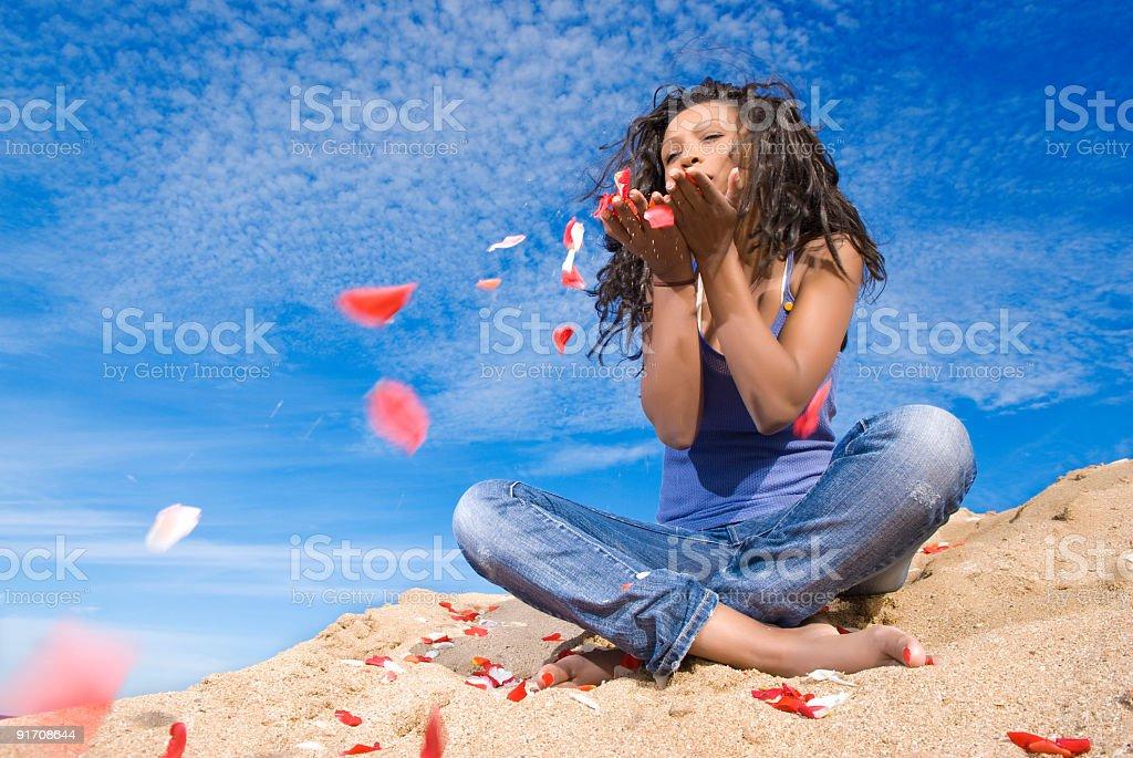 Rose petals flow in desert stock photo
