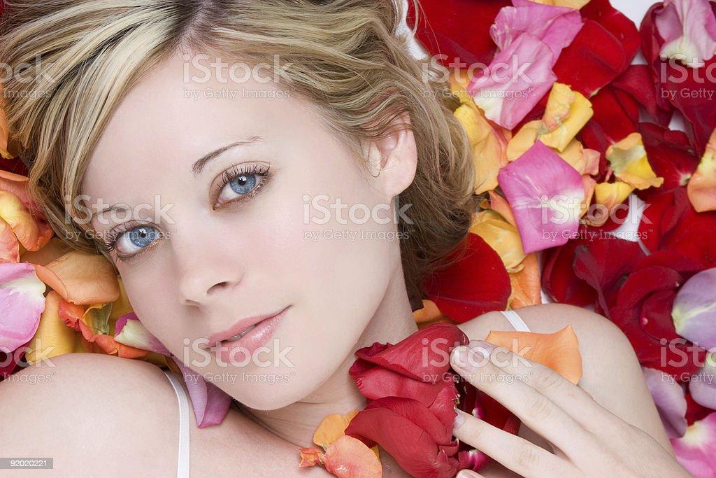 Rose Petals Woman royalty-free stock photo