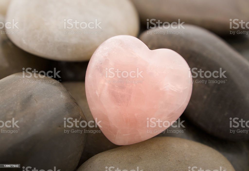 Rose quartz heart stock photo