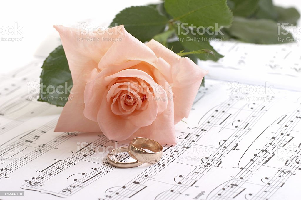 Rose, rings and notes on a white background royalty-free stock photo