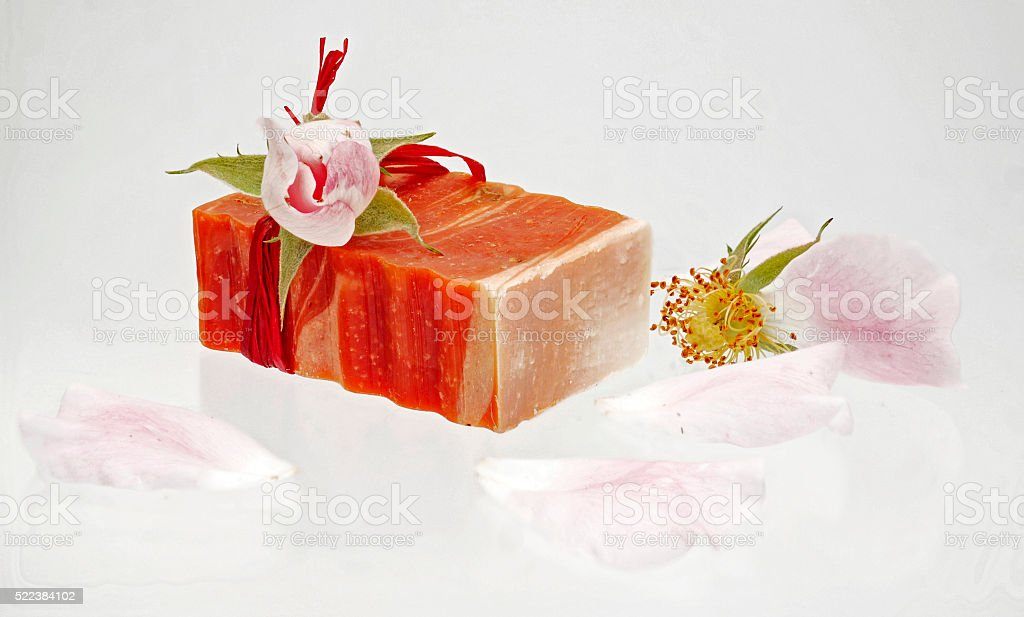 Rose soap with fresh roses stock photo