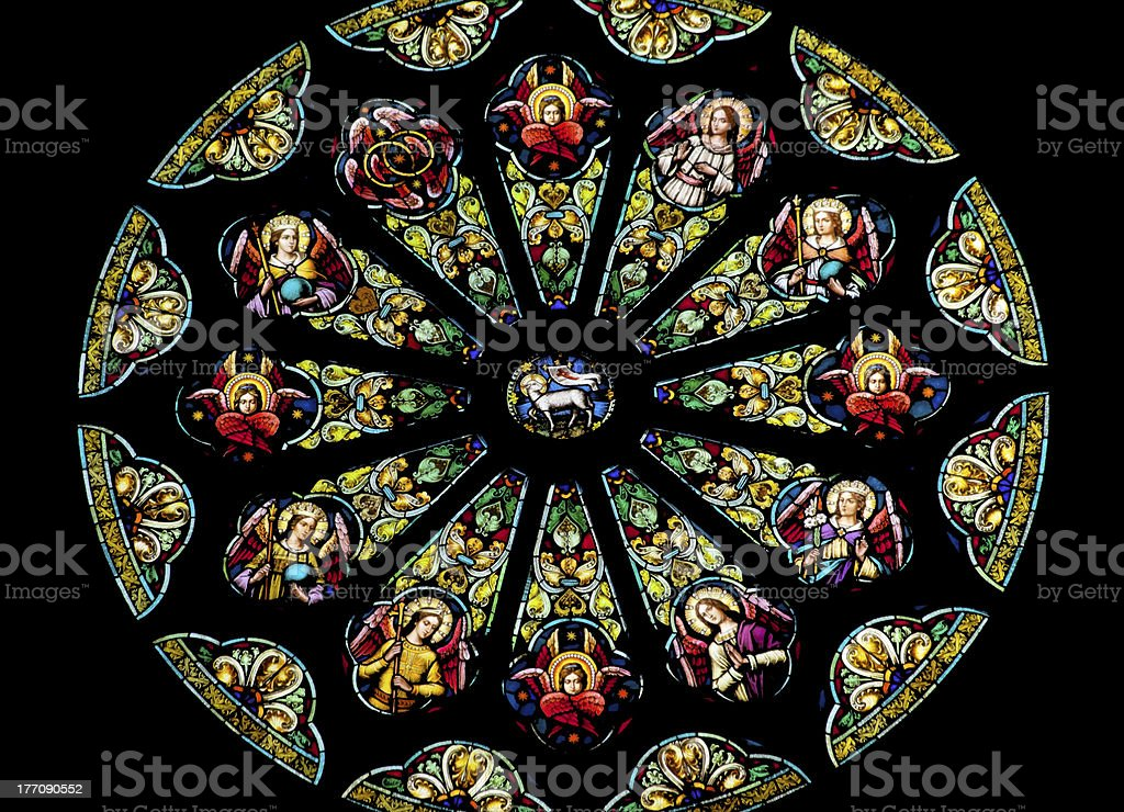 Rose Stained Glass Window Saint Peter Paul Church San Francisco stock photo